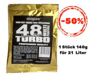 Turbohefe turbo yeast Alcopure 48 Turbo ExtraPure Alkohol Brennhefe Gärhefe 140g