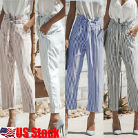 Womens High Waist Striped Belt Wide Leg Long Pants Summer Casual Skinny Trousers