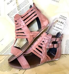 Bed Stu Roan Sandal Boot Skye Gladiator Distressed Leather Zip Rose Pink 8 NEW