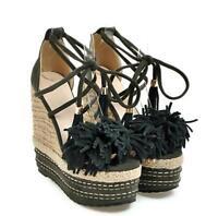 Womens Fringe Wedge High Heels Platform Peep Toe Braided Lace Up Sandals Fashion