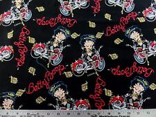 BETTY BOOP MOTORCYCLE PRINT 100% COTTON FABRIC BY THE 1/2 YARD VINTAGE