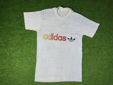 Vintage 80s Adidas Rainbow Trefoil T Shirt Logo 70s S/M USA Light Blue awesome