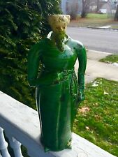 extremely rare Antique Majolica Figural Monk Bottle One Of A Kind Look!
