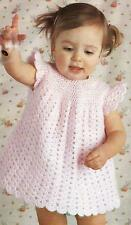 "Baby Crochet Pattern Dress Scalloped Hem and Sleeves 19-22""  DK  128"