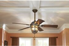 "52"" Ceiling Fan with Light Kit Aged Iron Outdoor Indoor Downrod or Flush Mount"