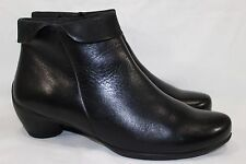 "ECCO ANKLE BOOTS ""SCULPTURED FOLDED ZIP"" WOMEN'S 42/11-11.5 BLACK LEATHER"