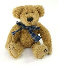 """Boyds Bromley Brown Bear Jointed Plush 8"""" w Blue Plaid Flannel Bow"""