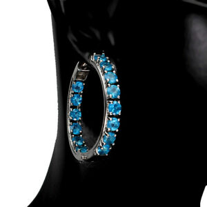 Round Paraiba Blue Apatite 3.5mm White Gold Plate 925 Sterling Silver Earrings