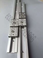 2X SGR15-600mm 15mm Recangle Wheel Liner Rail &4 SGB25UU 4 Wheel BLock Bearing