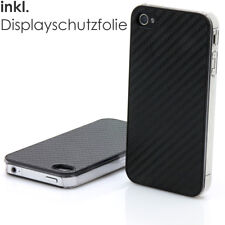Apple IPHONE 4/4S Carbono Funda + 2 Panzerfolien Carcasa Funda Protectora