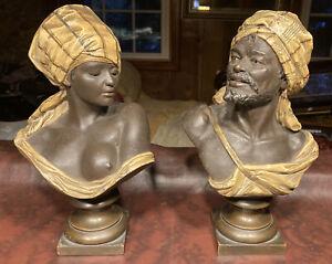 Antique Orientalist Bust Sculptures by Rudolf Thiele and Wilhelm Giesecke Bronze
