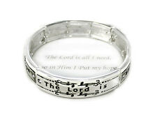 The Lord Is All I Need Clear Crystal Detail Inspirational Religious Bracelet