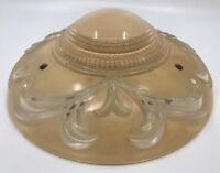 "VTG Etched Rose Scalloped Glass 11"" HANGING Mount CEILING LIGHT SHADE FIXTURE"