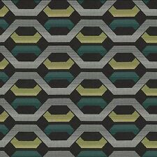 Sunbrella Carnegie Hive Aqua yellow and gray Outdoor Upholstery Fabric