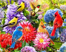 "Garden Birds & Flowers BRIGHT Cotton Fabric Panel 35"" x 44"" by David Textiles"