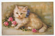 Animal CHAT carte par illustrateur chaton dans les fleurs