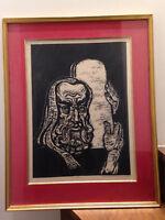 Jacob Steinhardt. Moses /Moïse et les tables de la loi. estampe/ Wood-cut - 1955