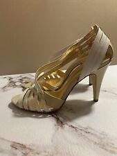 Coach Women's BRENDY Heel Sandal Shoes Size 6.5 Multi Strap Metallic
