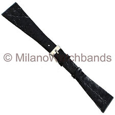 19mm Milano Genuine Crocodile Tapered Flat Black Regular Watch Band