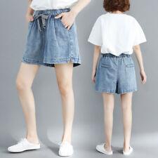 Women Loose Shorts Demin Jeans Wide Leg Elastic Waist Summer Hot Pants Plus Size