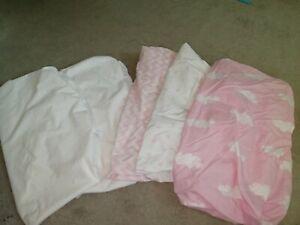 Girls Cot Bed Sheet 3x & 2x mattress protectors. Pottery Barn kids & Ikea