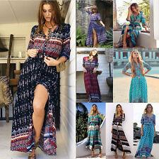 Ladies Retro Floral Maxi Boho Dress Short Sleeve Long Sheer Beach Dresses