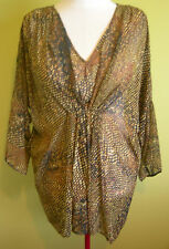 Ladies Womens 3/4 Sleeve Brown Snakeskin Chiffon Blouse Top Rockmans Size 16