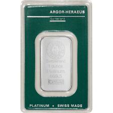 1 oz. Platinum Bar - Argor Heraeus - 999.5 Fine in Assay