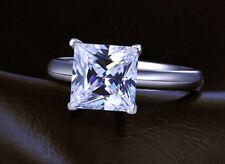 Engagement Ring Princess Diamond Gold Cut White 14k Ct Solitaire 2 Carat E VVS1