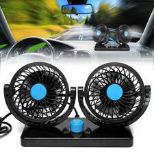 12V 360 Degree Rotation Dual Head Mini Car Cooling Fan 2 Speed Adjustable Silent