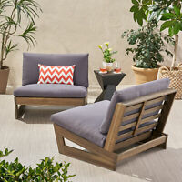Emma Outdoor Acacia Wood Club Chairs with Cushions (Set of 2)