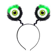 Green Feathered Alien Eye Bopper Headband Ball Fancy Dress