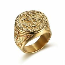 Color Vintage Punk Stainless Steel Jewelry Men Ring Anchor Biker Ring Gold