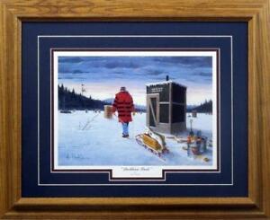 "Les Kouba Darkhouse Finale Ice Fishing Art Print Framed 21"" x 17"""
