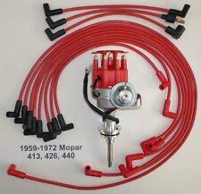 MOPAR 413-426-440 1959-1972 Red SMALL Cap HEI Distributor & Spark Plug Wires USA