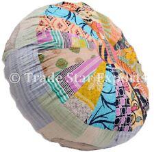 Indian Mandala Kantha Ottoman Pouf Cover Patchwork Floor Pouffe Round Bean Bag