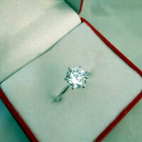 VVS1 Round Cut 2.00 Ct Diamond Solitaire Ring 18K White Gold Ring Size N M J 10