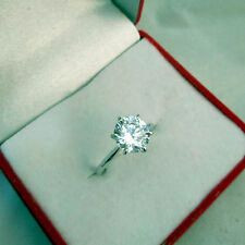 Solitaire 2.00 Ct Diamond Engagement Ring Solid 18K White Gold Size M N P K Q L