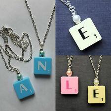 """letter necklace pendant SCRABBLE TILE THEME chain 15/18"""" pearl cream pink blue"""