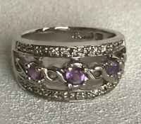 Lia Sophia Rapture Ring Size 8 SilverTone Filagree Design Purple Accents Euc