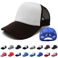 Trucker Hat Mesh Foam Cap Snapback Baseball Adjustable Bill Curved Solid Men New