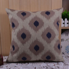 45*45cm Retro Ikat Style Navy Blue and Gray Square Geometric Linen Cushion Cover