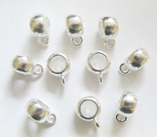 10 Silver Plated Dangle Bails for Charm Bracelet - 11.5mm