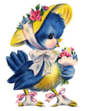 Vintage Image Shabby Lady Bluebird Floral Bonnet Furniture Transfer Decal Bir832