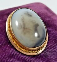Antique Victorian Cabochon Bezel Set Agate in Gold Filled Brooch Pin Pendant