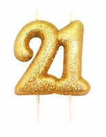 9cm Gold Glitter Number 21 Candle 21st Birthday Party Cake Decoration Supplies