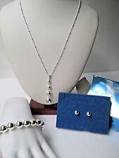 Avon three piece beaded gift set silvertone NIB FREE SHIP Demi Necklace pierced