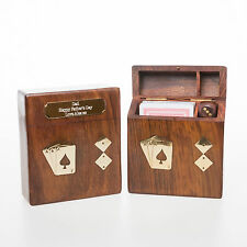 Personalised Wooden PLAYING CARDS & DICE Gift For 18th/21st/30th/40th Birthday