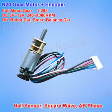 DC 3V 6V 12V 1000RPM Mini Full Metal Gear Motor Speed Encoder Hall DIY Robot Car