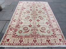 Old Traditional Hand Made Rugs Afghan Oriental Wool Green Carpet Rug 277x184cm